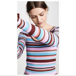 Cinq a Sept Striped Ribbed Estella Knit Top